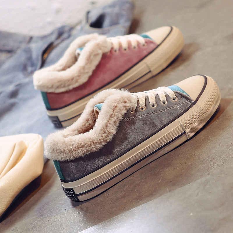 Fluwelen platte sneakers vrouwen winter sport schoenen vrouw warme pluche sneakers trainers fitness gym jogging schoenen vrouwen comfortabele