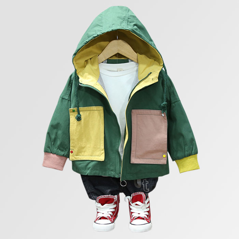 INS hot Baby boys Jackets 0-5 year old Korean solid color stitching large pocket autumn winter jacket hooded boys trench