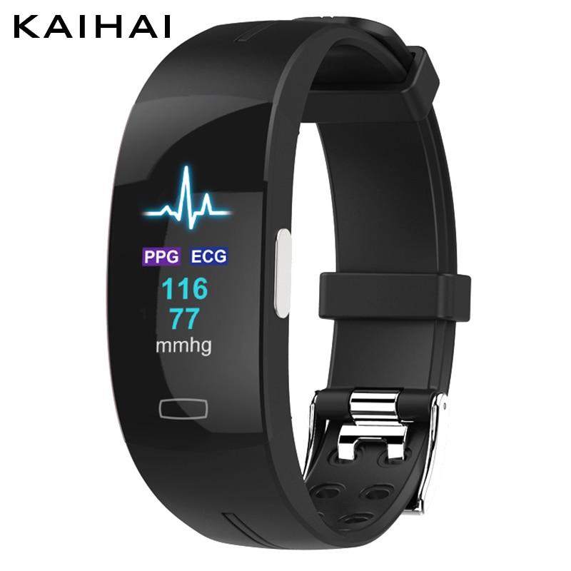 KAIHAI H66 высокое кровяное давление пульсометр PPG + ЭКГ умный Браслет фитнес-трекер смотреть интеллектуальные gps траектории