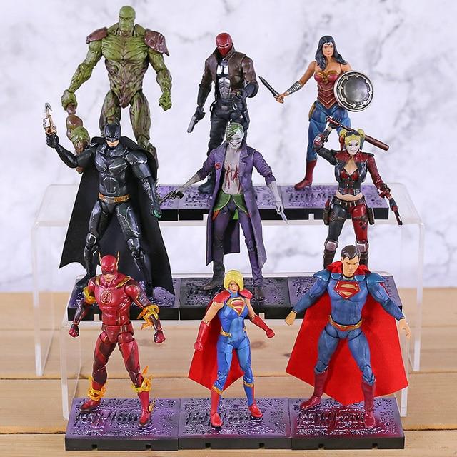 Hiya brinquedos injustiça 2 superman maravilha mulher coringa harley quinn flash supergirl capuz vermelho pântano coisa figura de ação brinquedo