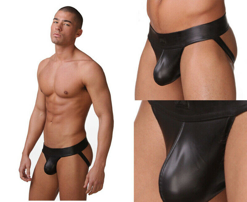Faux Leather Jockstrap Underwear Erotic Panties Sexy Lingerie Hot Sexy Mens Male's Thongs Underwear