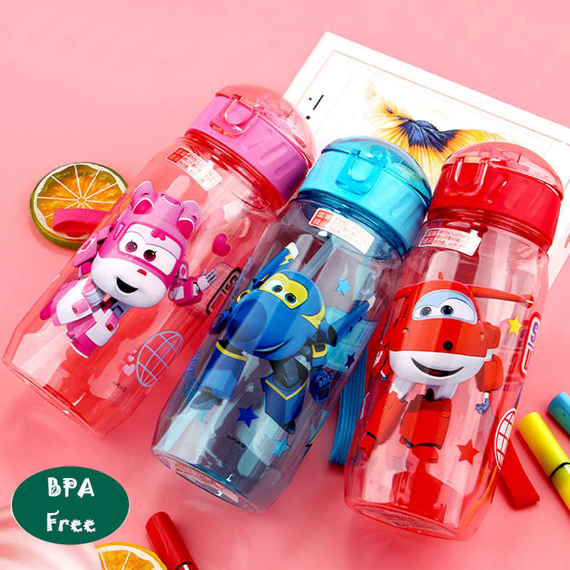 Children's Water Cup Plastic straw cup Anti-fall kettle BPA Free Convenient Tritan material Cartoon cup Lovely  Super Wings