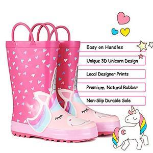 Image 2 - KomForme Kids Rain Boots Girl Pink Heart Unicorn Rubber Boots Waterproof Overshoes Water Shoes Rubber Shoes Kids Boots Girls