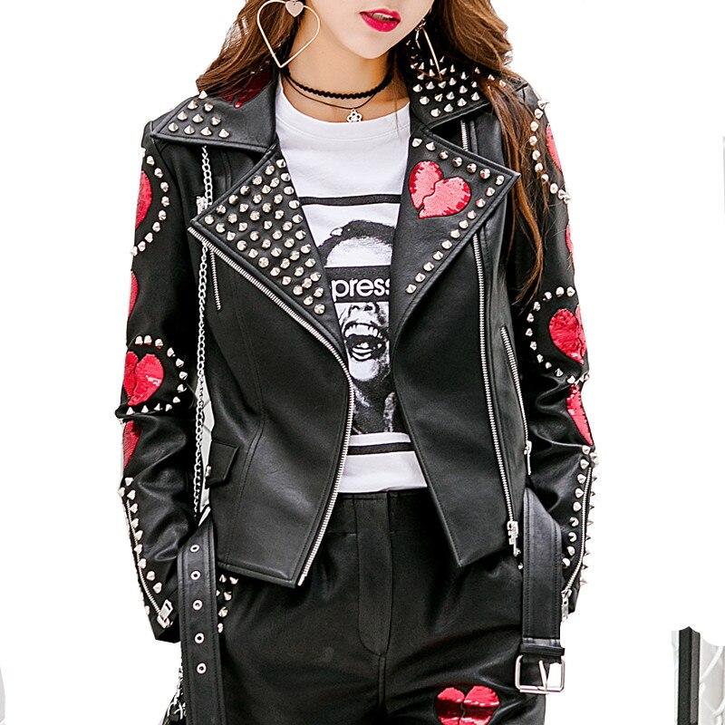 Autumn New Rivet Short Faux Soft   Leather   Jacket Women Fashion Zipper Motorcycle PU   Leather   Jacket Black Ladies Basic Street Coat