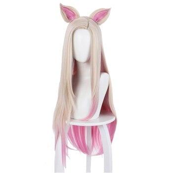 Schnelle Verschiffen Spiel LOL Cosplay Ahri Perücke 80cm Rosa Wärme Beständig Synthetische Haar Party Perücken Karneval Halloween-Party Prop geschenk