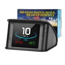 Medidor Digital inteligente Universal HUD P10 OBD2, pantalla frontal, alarma de exceso de velocidad, código de fallas de motor, navegador para coche de seguridad