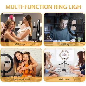 Image 5 - 6 w 10 w 16cm 26cm LED pierścień światła uchwyt telefonu Selfie Mini statyw pierścień lampa dla iphone huawei xiaomi Youtube transmisja na żywo Vide