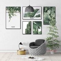 المنزل لوحات فنية للديكور صور لا الإطار الطازجة الخضراء النبات الشمال المشارك متعدد مزيج قماش لوحات لغرفة المعيشة
