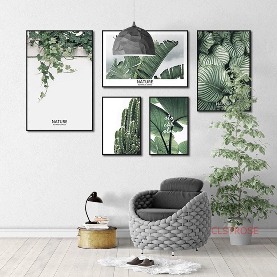 Свежий зеленый растение скандинавский плакат мульти комбинация холст картины для гостиной украшение дома настенные художественные картины без рамки|Рисование и каллиграфия| | - AliExpress