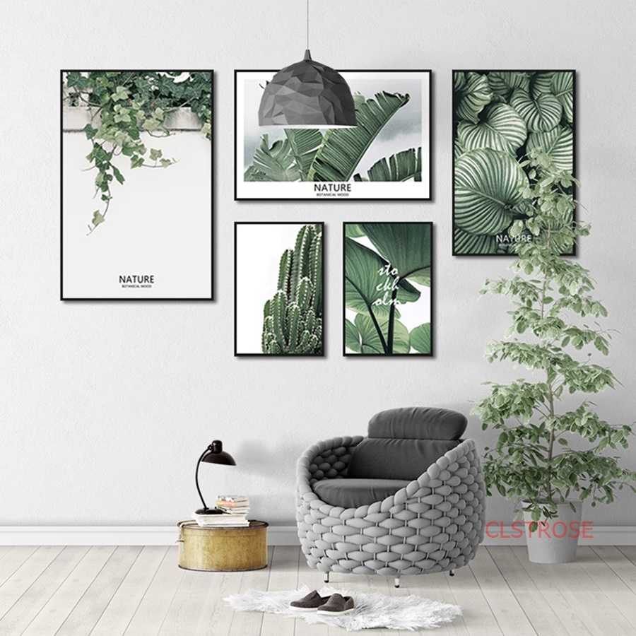Fresh Green Plant Nordic Poster Multi Combination Canvas Paintings For Living Room Home Decoration Wall Art Pictures No Frame
