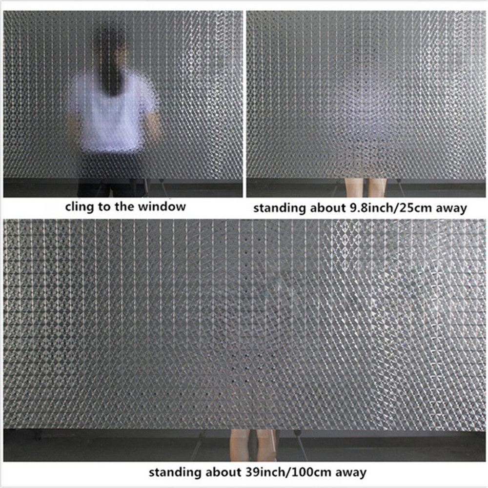 Privacy Frosted Window Film No-Glue Self Adhesive 3D Static Decorative Glass Stickers for Home Kitchen Office Anti-UV 6