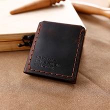 Trifold Genuine Leather Wallet Men Handmade Crazy Horse