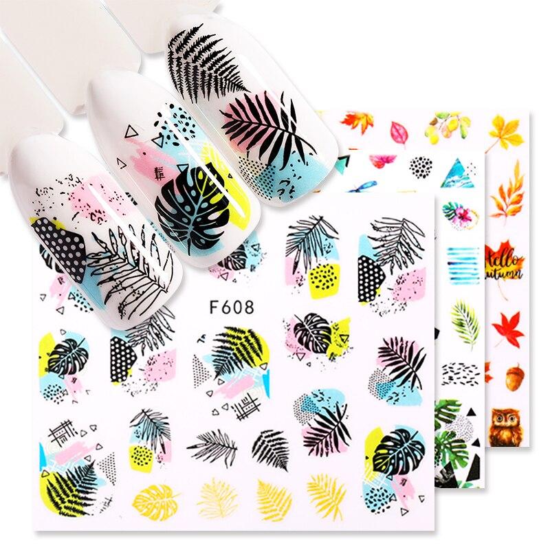 1 лист наклейки на ногти цветок листья слайдер, которые переводятся на ногти, с помощью наклейки для маникюра ногтей маникюр сделай сам накл...
