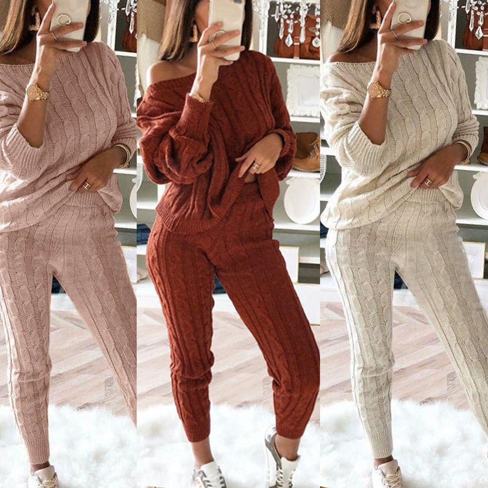 2Pcs Winter Solid Color Off Shoulder Sweater Pants Women Knitted Pajamas Set