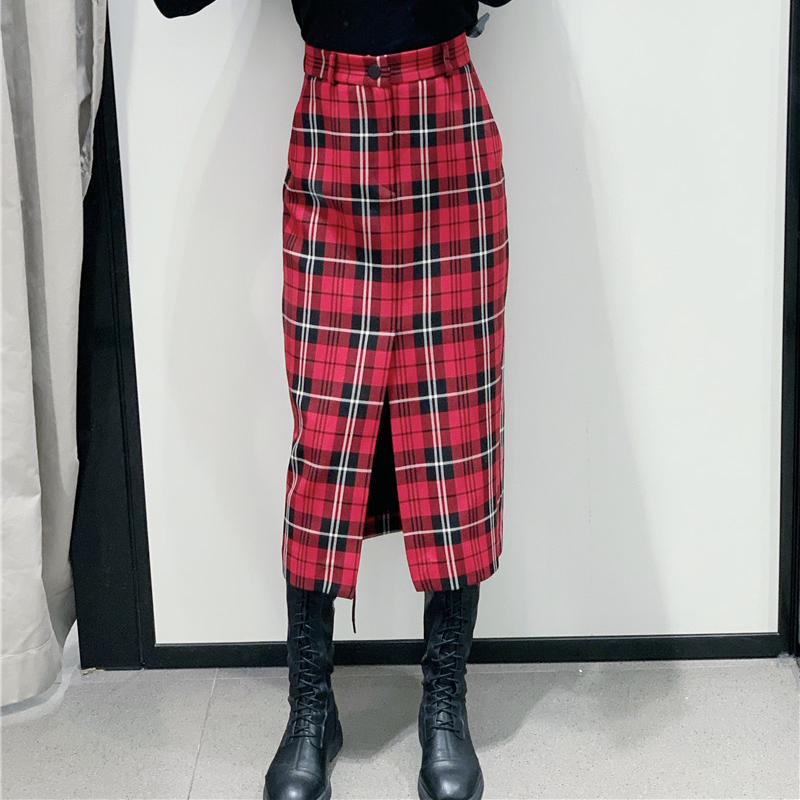 VomVoa Wild lady straight <font><b>skirt</b></font> autumn and winter new sweet high waist retro casual <font><b>red</b></font> <font><b>plaid</b></font> <font><b>skirt</b></font> <font><b>women's</b></font> <font><b>skirt</b></font> image