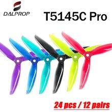 24 adet/12 çift DALPROP siklon T5145C PRO 5 inç 3 bıçak/üç kanatlı pervane fırçasız motor FPV pervane FPV yarış Drone için