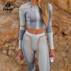 Image 1 - Fdbro conjunto de vestimenta para inverno, kit de roupas fitness femininas, agasalho de cintura alta mulheres