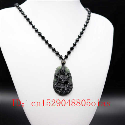 Negro Natural chino verde Jade Guanyin colgante de obsidiana collar de accesorios de joyería amuleto grabado regalos para hombres