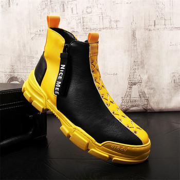 Yellow Leather Boots Men Slip On Mens Boots Fashion Comfortable Breathable Men Fashion Sneakers 5.2-4.7#17/10D50