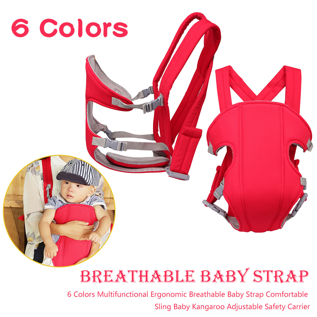 2-30 Months Breathable Front Facing Baby Comfortable Sling Backpack Pouch Wrap Baby Kangaroo Adjustable Safety