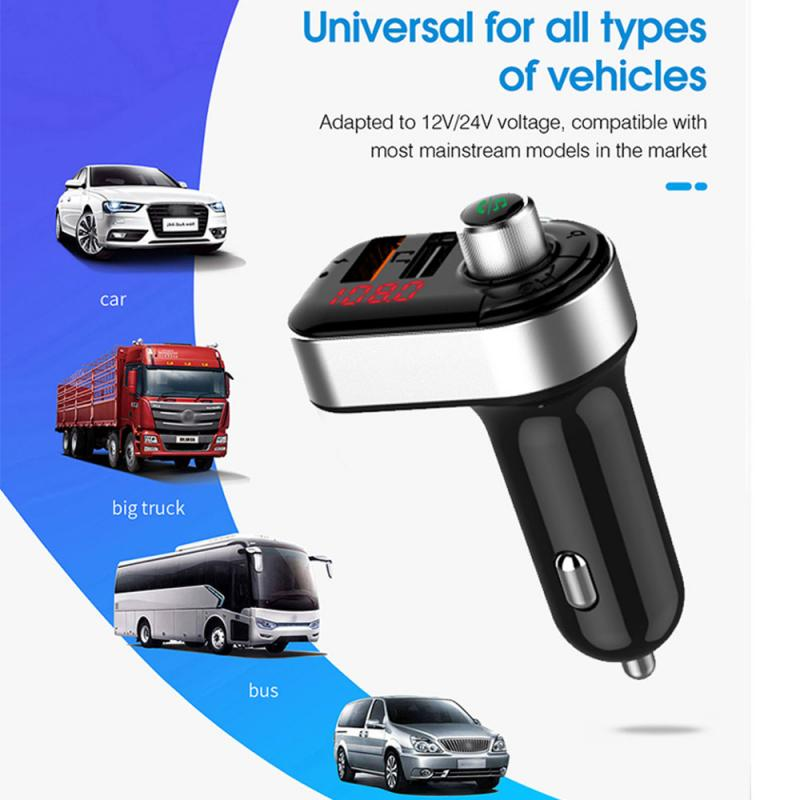 AUto Bluetooth 5.0 Handsfree Car Kit FM Transmitter 3.1A Quick Dual USB Charger LCD Digital Voltmeter TF Card Disk AUX Player