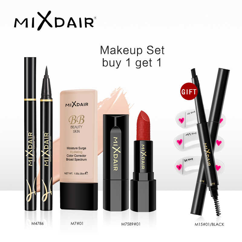 MIXDAIR Serie Oro Nero 4 Pezzi/set Make Up Tool Kit con il Regalo di Trucco Professionale Bellezza Make Up Set di Cosmetici