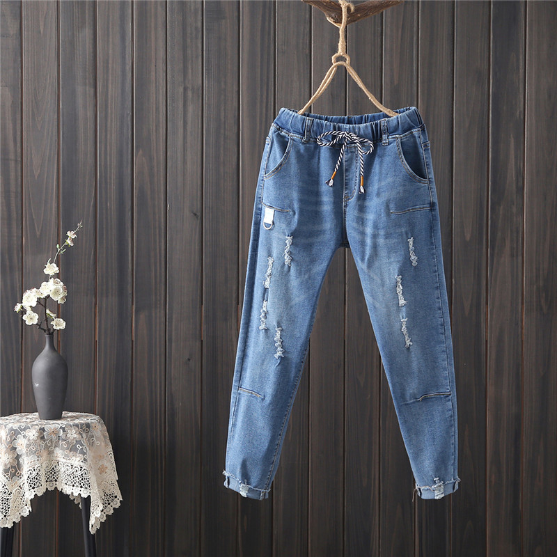 Summer 2020 Fashionable Women's Fashion Frayed Frayed Fringed White Lace Straight Jeans 1039