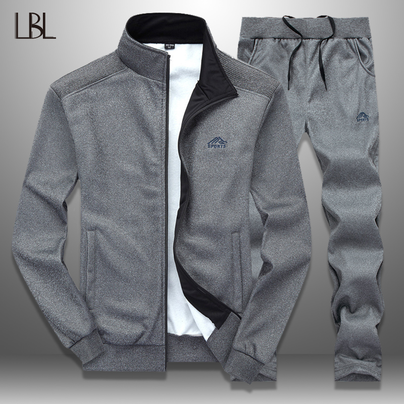 LBL Sportswear Tracksuit Men Spring Autumn Mens Track Suits 2019 Two PCS Sweat Suit Zipper Jacket+Sweatpants Male Brand Clothing