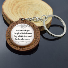 Christmas Gifts Best Friends Quote Keychain Because of You I Laugh A Little Harder, Cry A Little Less  Friendship Keychain f leoni a little garden of melodies