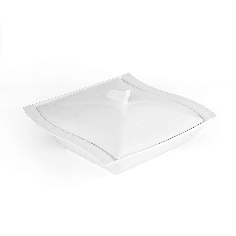 MALACASA Flora Solid Color 10 White Porcelain Soup Pot Tureen with Lid 1.4L Square Salad Barbecue Soup Bowl kitchen Pot Tool
