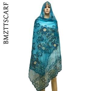 Image 3 - New african sciarpe, 2019 Musulmano delle donne del ricamo grande rete sciarpa, netto sciarpa morbida sciarpa di Formato 210*110 centimetri per Scialli Stole