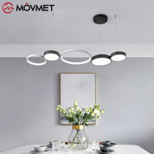 цена Minimalist Modern pendant lights for living room dining room Circle Rings acrylic aluminum body LED Lighting ceiling Lamp онлайн в 2017 году