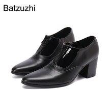Batzuzhi Japanischen Typ Männer der Schuhe 7,5 cm Hohe Ferse Schwarz Echtes Leder Stiefeletten Männer Spitz Business/party/Hochzeit Schuh