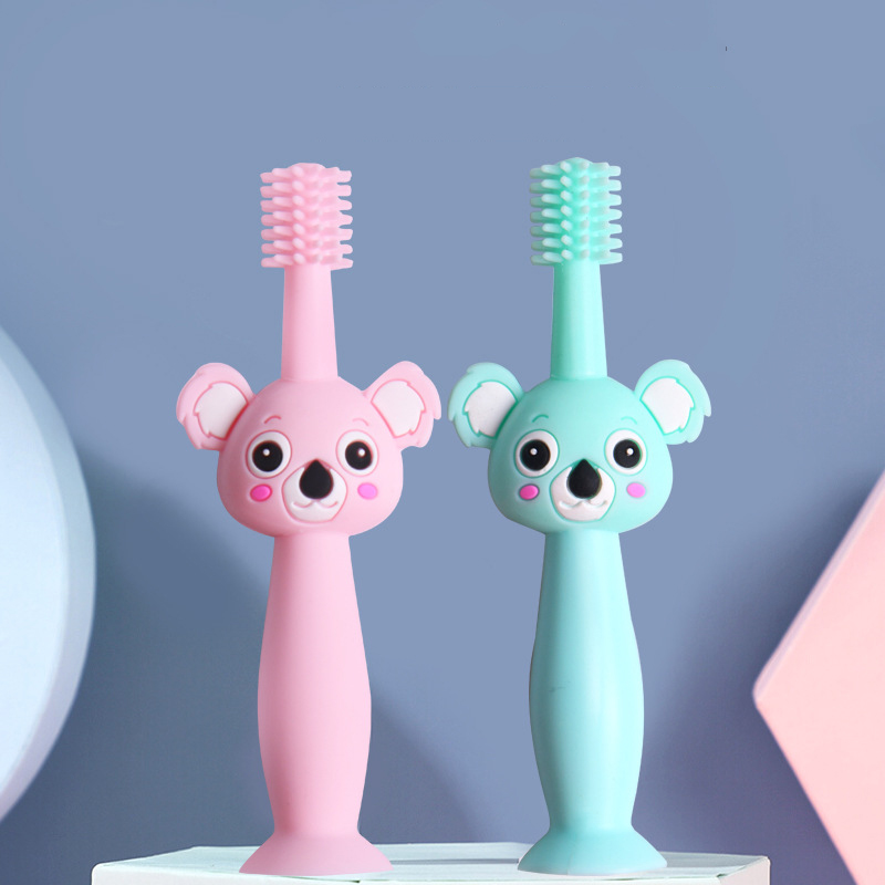 Silicone Koala Teether Baby Care For Teeth Baby Silicone Tooth Brush Food Grade Teething Brush For 0 6 Months Toothbrushes  - AliExpress