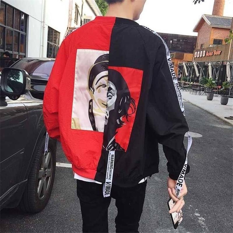 Autumn Jacket Patchwork Hoodie Sweatshirts Zipper Hip Hop Hoodie Funny High Street Streetwear Clothing Japan Cool Hoodie Male