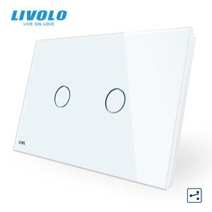 "Image 2 - LIVOLO ארה""ב C9 סטנדרטי מגע מסך קיר אור מתג, 2 דרכים צלב באמצעות שליטה, זכוכית קריסטל לוח, עד Donw מדרגות"