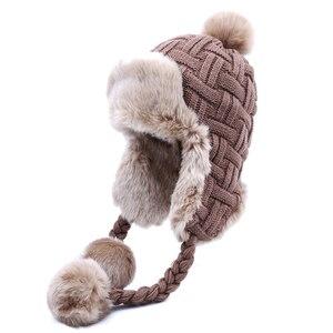 Image 1 - Frauen Trapper Hüte Winter Warm Faux Fox Pelz Bomber Hut Beanies Russische Uschanka Wolle Stricken Pom Pom Ohrenklappen Aviator Caps