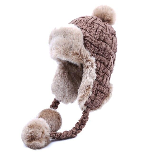Bonnet de bombardier pour femmes   Chapeaux dhiver chauds en fausse fourrure de renard, bonnets en laine Ushanka russe en tricot Pom Pom, oreillettes, casquettes daviateur
