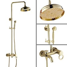 цена на Bathroom Rainfall Shower Set faucet 8 Luxury Golden Polished Brass Rain Bath Wall Mounted Shower Set Bathtub Mixer Tap agf401