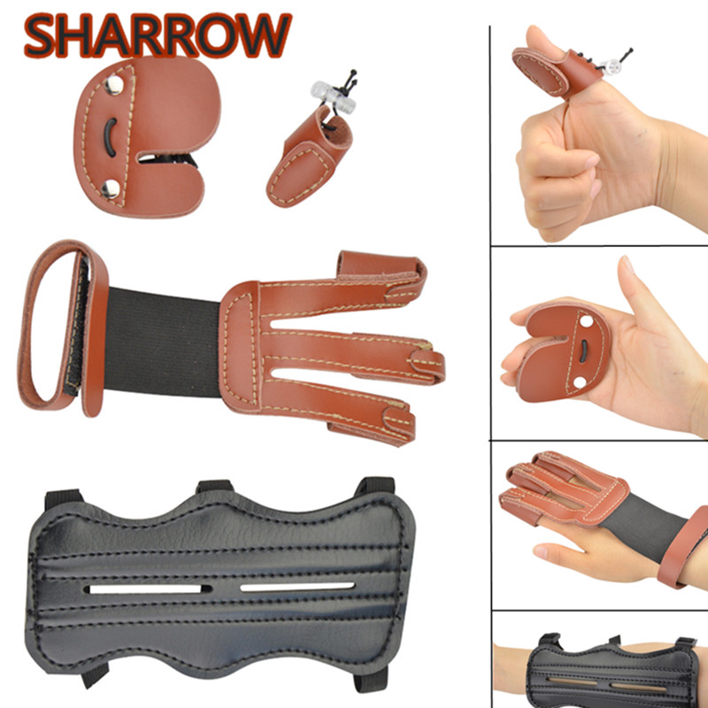 Right Hand Archery Finger Tab Guard Bow Protector Gear Aluminum Shooting Kit
