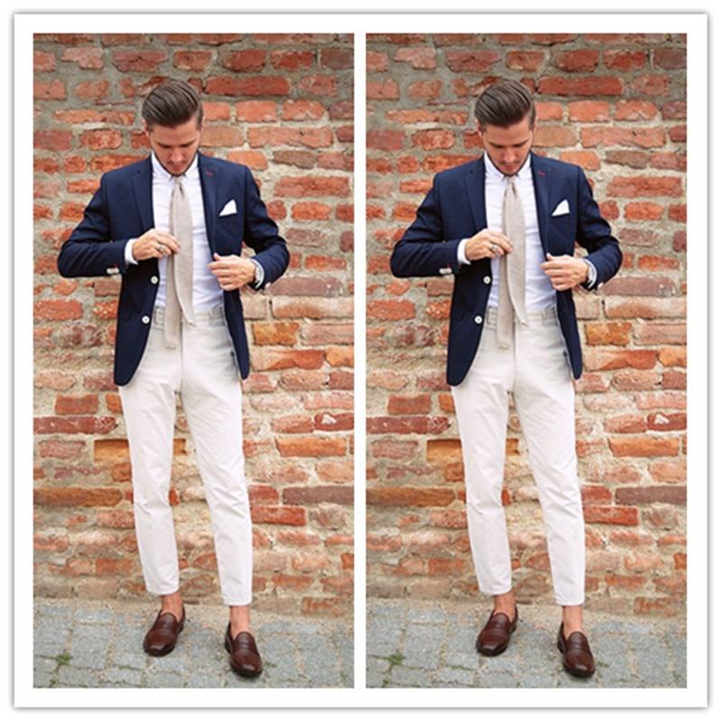 Fashion Two Pieces Men Suits Tuxedo for Wedding Business Blazer Peak Lapel Costume Party Suits (Blue Jacket+White Pant)