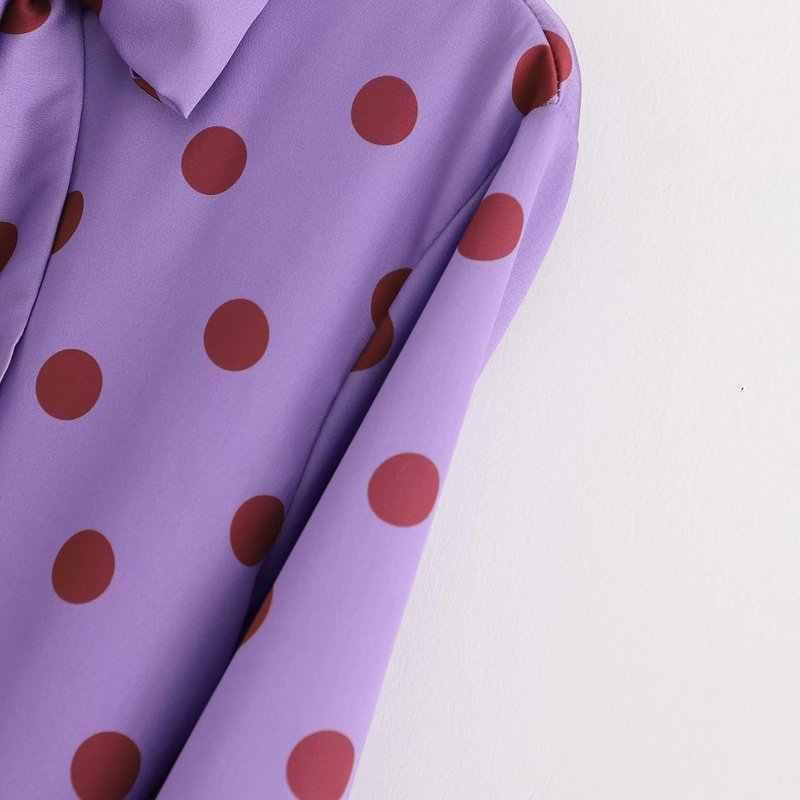 XD48-2801women 달콤한 폴카 도트 미디 드레스 보우 타이 칼라 긴 소매 스트레이트 퍼플 famale 귀여운 중반 송아지 드레스