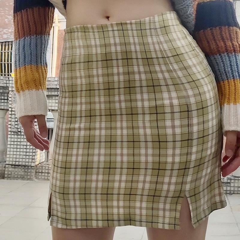 2020 NEW FASHION Sexy Summer Autumn Plaid Sexy Purple Korea Split Harajuku Clothes Skirts Womens mini Skirt Kawaii B918