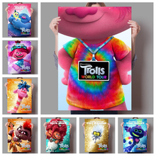 2020 latest American fantasy song and dance anime Trolls World Tour family wall children #8217 s room art deco poster o48 cheap WXDUUZ Canvas Printings Separate Animation Frameless Mirrors Europe Spray Painting Horizontal Rectangle