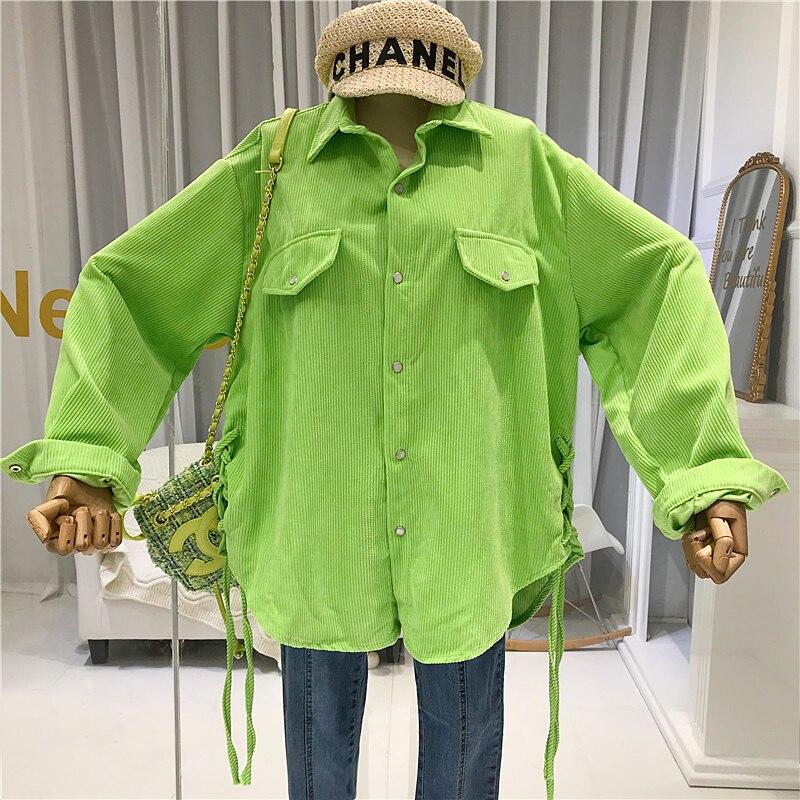 Femmes à manches longues chemises velours côtelé mode coréenne vêtements 2019 mode Style coréen Streetwear femmes Blouse vert jaune