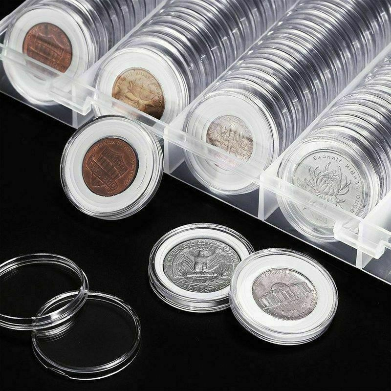 100 Pcs Fit 27mm Coin Capsule Box Round Holder Plastic Transparent Dustproof Case Protect Airtight Collection Storage