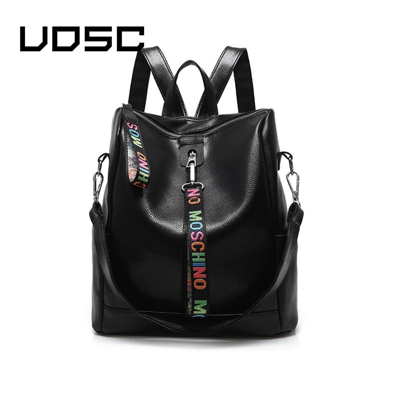 UOSC Women 100% PU Leather Backpack High Quality Youth Backpacks For Teenage Girls Female School Shoulder Bag Bagpack