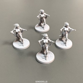 Lot 4pcs Female Heroes Miniatures Role Playing Miniatures Board Game Figures