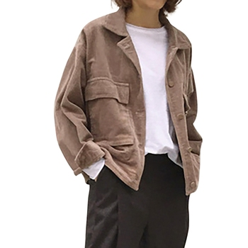 Women Jacket Spring Autumn Lapel Long-Sleeved Solid Color Coat Loose Casual Pocket Corduroy Newest