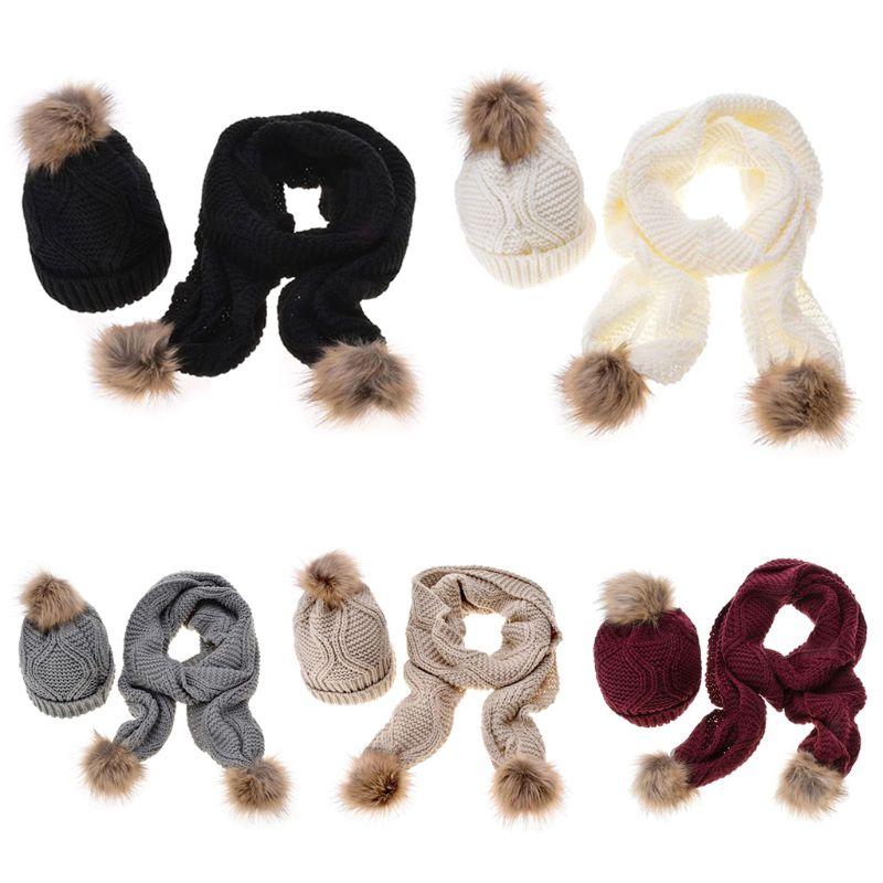 Women Winter Scarf Hat Set Rhombus Knit Pompom Ball Cuffed Beanie Cap Shawl Y1AC